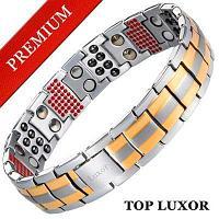 Титановый магнитный браслет Премиум Топ Люксор gold