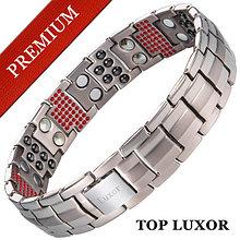 Титановый магнитный браслет Премиум Топ Люксор silver