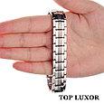Титановый магнитный браслет Премиум Топ Люксор silver, фото 4
