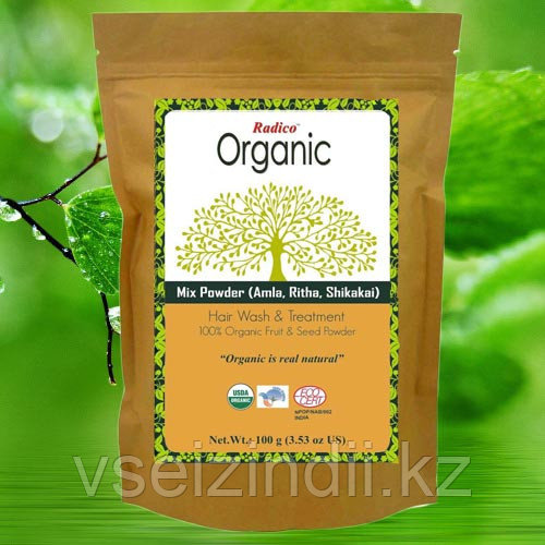 Травяная пудра Organic Radico с амлой, ритха и шикакай 100гр