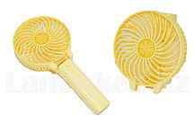 Портативный ручной вентилятор на батарейках складной  Желтый