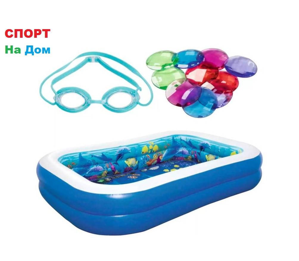 Надувной бассейн Bestwey 54177 с 3D рисунком «Поиски сокровищ»(Габариты: 262 x 175 x 51 см, на 778 литров)
