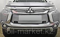 Защита переднего бампера, двойная, овальная для  Mitsubishi Pajero Sport (2016-), фото 2