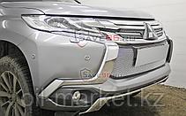 Защита переднего бампера, двойная, овальная для  Mitsubishi Pajero Sport (2016-), фото 3