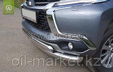 Защита переднего бампера, двойная, круг+овал для  Mitsubishi Pajero Sport (2016-), фото 2