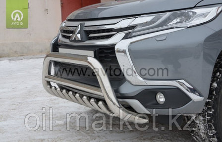 Защита переднего бампера, круглая кенгурин для  Mitsubishi Pajero Sport (2016-), фото 2
