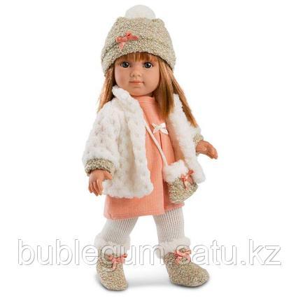 LLORENS: Кукла Елена 35см, шатенка в белой шубке