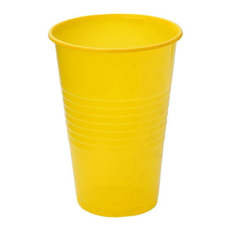 Стакан для холодных, горячих напитков, объем 0,20л, желтый, 6 шт
