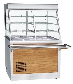 Прилавок-мармит электрический 1-х блюд ПМЭС-70Х, 1120 мм, 2 конфорки d 220 мм, 1 стеклянная полка, LED-подсвет