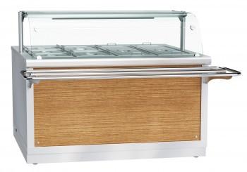 Электрический мармит кухонный 2-х блюд ЭМК-70Х-01, 1500 мм, паровой, +30…+80 С, с гастроемкостями, 2 стеклянны