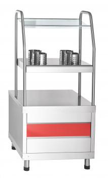 Прилавок для столовых приборов ПСПХ-70КМ, хлебница, 4 нерж. стакана (630 мм)