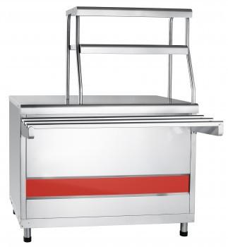 Прилавок для горячих напитков ПГН-70КМ нейтральный стол (две полки, 1120 мм)