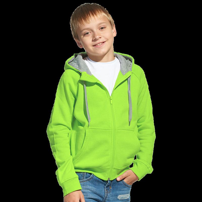Детская толстовка, StanStyleJunior, 17J, Ярко-зелёный-Серый меланж (26/50), 8 лет