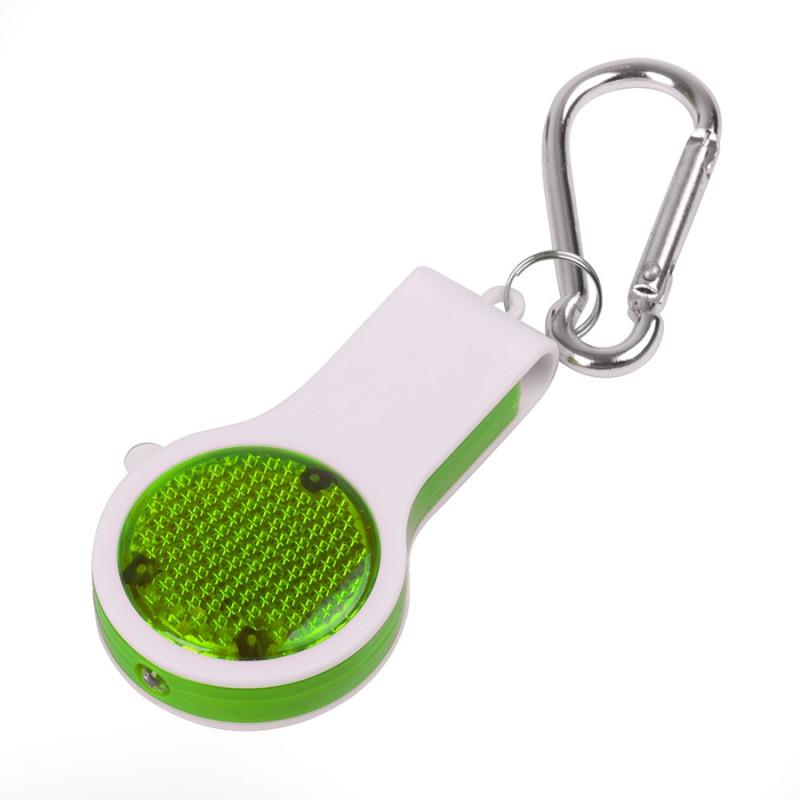 Брелок со свистком, фонариком и светоотражателем FLOYKIN на карабине, зеленый с белым,3,7х6,7х1,5см, Белый, -,