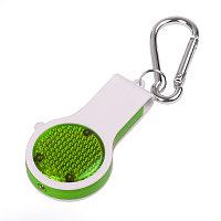 Брелок со свистком, фонариком и светоотражателем FLOYKIN на карабине, зеленый с белым,3,7х6,7х1,5см, Белый, -,, фото 1