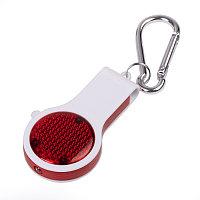 Брелок со свистком, фонариком и светоотражателем FLOYKIN на карабине, красный с белым, 3,7х6,7х1,5см, Белый,