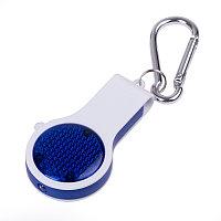 Брелок со свистком, фонариком и светоотражателем FLOYKIN на карабине, синий с белым, 3,7х6,7х1,5см, Белый, -,