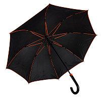 Зонт-трость BACK TO BLACK, пластиковая ручка, полуавтомат, Черный, -, 7432 05