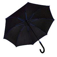 Зонт-трость BACK TO BLACK, пластиковая ручка, полуавтомат, Черный, -, 7432 24