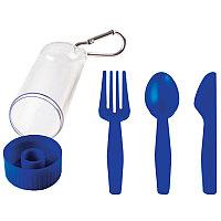 """Набор """"Pocket"""":ложка,вилка,нож в футляре с карабином, Синий, -, 23902 24"""