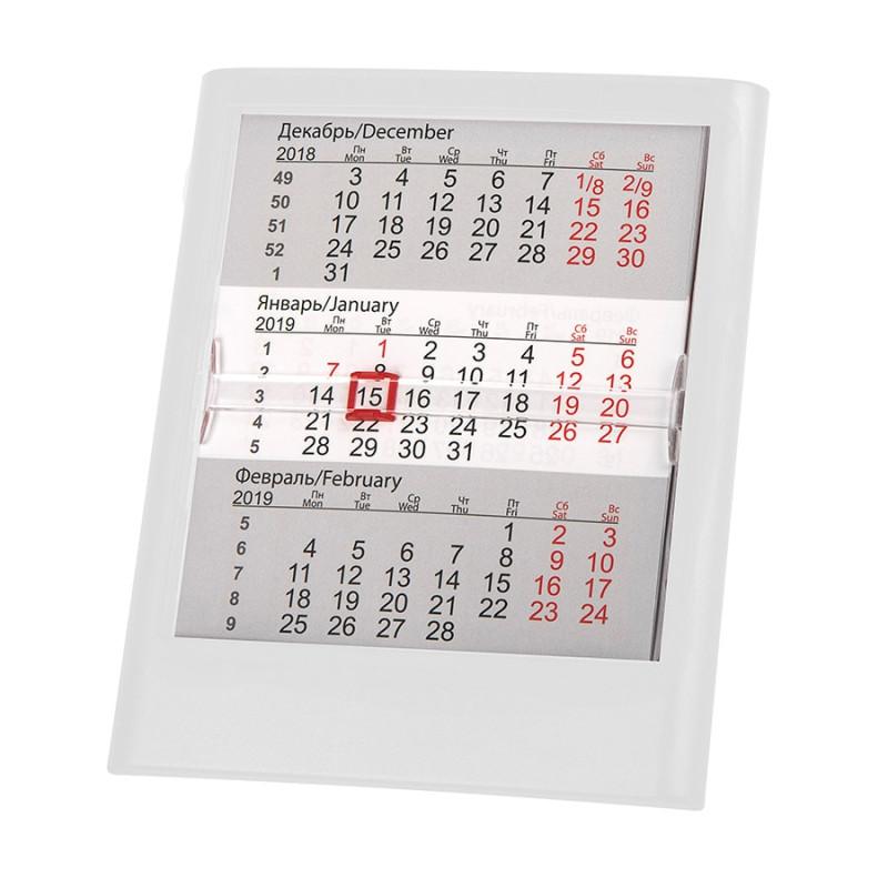 Календарь настольный на 2 года ; белый; 12,5 х16 см; пластик; тампопечать, шелкография, Белый, -, 9539 01