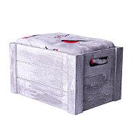 """Плед новогодний  """"Снегири"""" в подарочной коробке, серый, красный, , 20321"""