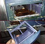 На фото лоток моющих средств пароконвекционной печи Rational. Несоблюдение регулярного режима очистки приводит к подобным поломкам. В таких случаях производится полная замена лотка.
