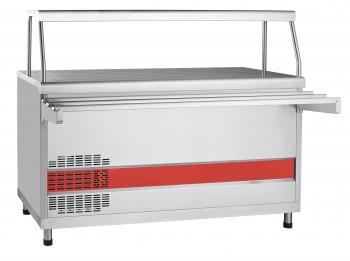 Прилавок холодильный ПВВ(Н)-70КМ-01-НШ (открытый,полка,подсветка, охлаждаемый стол 1500 мм)