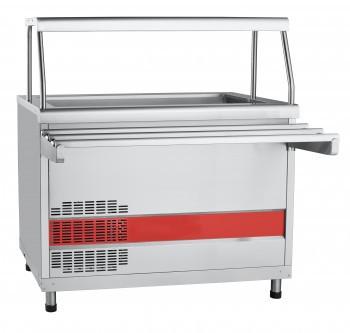 Прилавок холодильный ПВВ(Н)-70КМ-02-НШ вся нерж. с ванной, нейтральный шкаф (1120 мм)