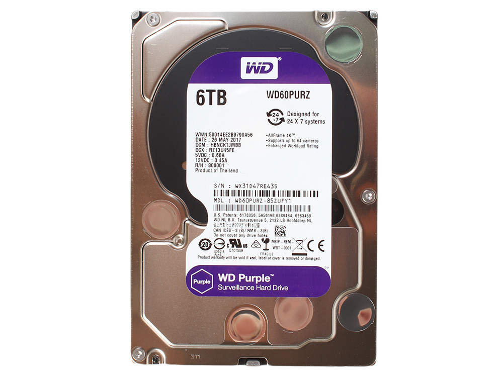 Внутренний  жесткий диск HDD 6000Gb Purple Western Digital