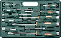 Набор отверток ударных, силовые под ключ, шлиц и крест, 10 предметов