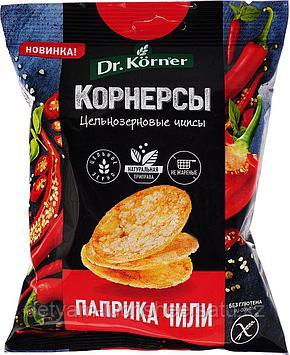 Безглютеновые Чипсы Dr. Korner цельнозерновые, кукурузно-рисовые с паприкой и чили, 50 г