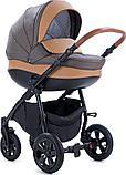 Коляска детская 3 в 1 Tutis Nanni Автолюлька+короб+прогулка Темно-коричневый + кожа Беж, фото 2