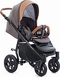 Коляска детская 3 в 1 Tutis Nanni Автолюлька+короб+прогулка Темно-коричневый + кожа Беж, фото 4