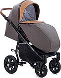 Коляска детская 3 в 1 Tutis Nanni Автолюлька+короб+прогулка Темно-коричневый + кожа Беж, фото 5