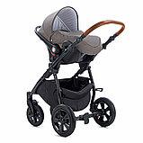 Коляска детская 3 в 1 Tutis Nanni Автолюлька+короб+прогулка Темно-коричневый + кожа Беж, фото 7