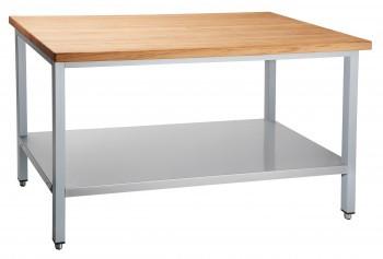 Стол кондитерский СКР-7-1 (1200x700x860 мм) столешница-дерево (бук), каркас крашен