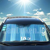 Солнцезащитная шторка для автомобиля плотная на стекло на присосках 128*60 см
