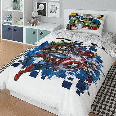 Детский комплект постельного белья «Marvel» (арт.20047+8380/1, 1,5-спальный, поплин, 1 наволочка 50х70)