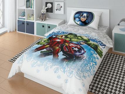 Детский комплект постельного белья «Marvel» (арт.20048+8381/1, 1,5-спальный, поплин, 1 наволочка 50х70)