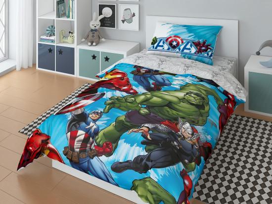 Детский комплект постельного белья «Marvel» (арт.20050+8380/1, 1,5-спальный, поплин, 1 наволочка 50х70)