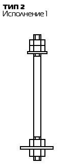 Болт фундаментный с анкерной плитой Тип 2, Исп. 1 ГОСТ 24379.1 80