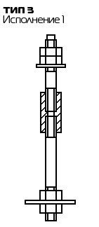 Болт фундаментный составной Тип 3, Исп. 1 ГОСТ 24379.1 80