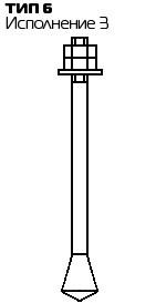 Болт фундаментный с коническим концом Тип 6, Исп.3 ГОСТ 24379.1 80