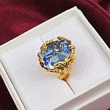 """Кольцо-перстень """"Голубой топаз"""", фото 3"""