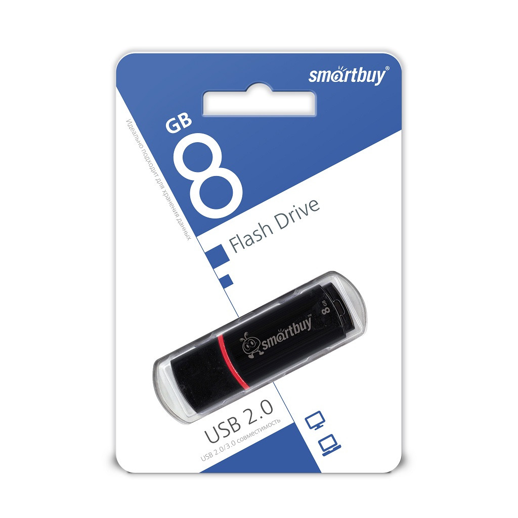 USB Флеш Накопитель UFD 2.0 Smartbuy 8GB Crown Black
