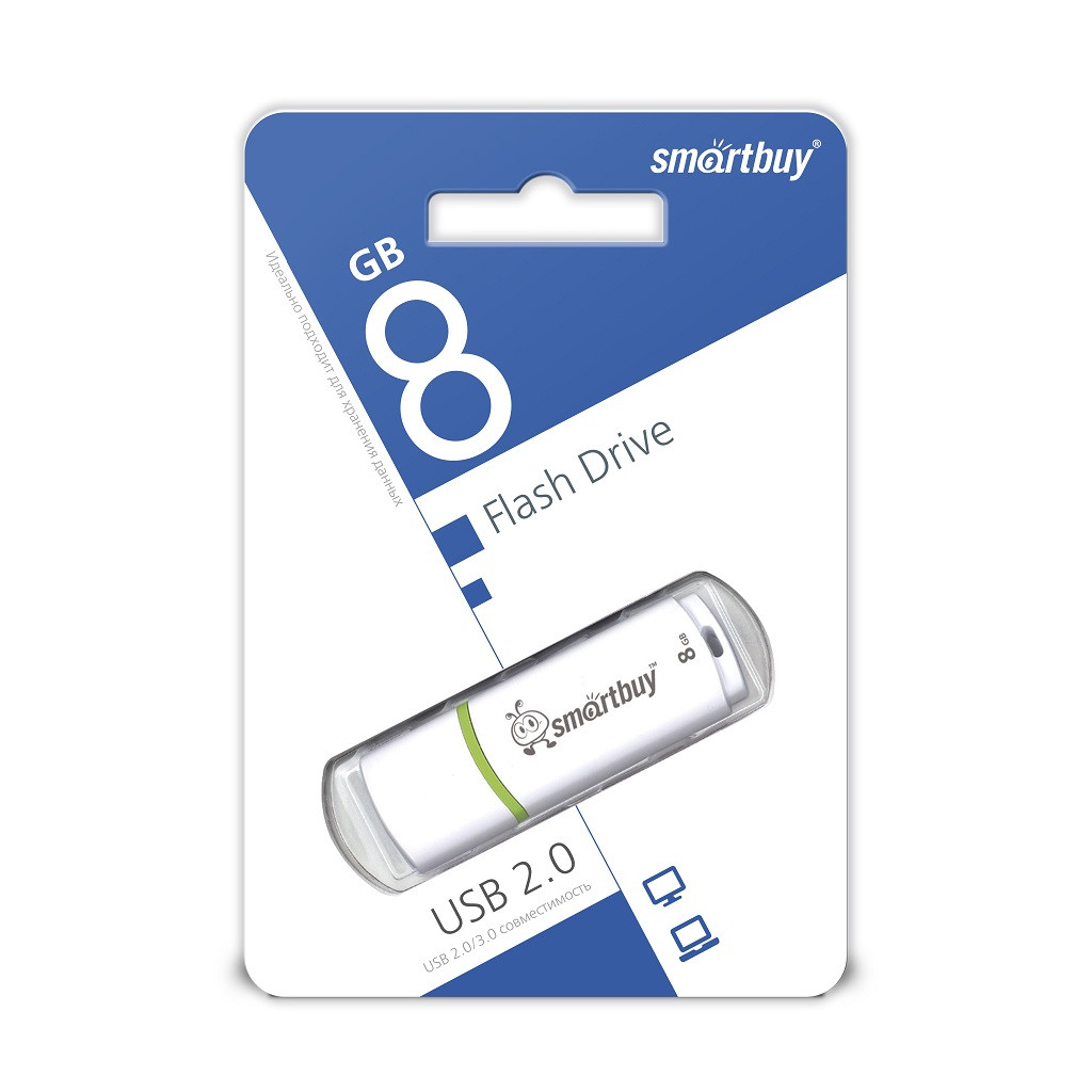 USB Флеш Накопитель UFD 2.0 Smartbuy 8GB Crown White