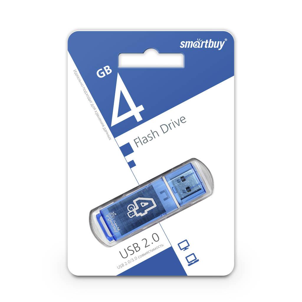 USB Флеш Накопитель UFD 2.0 Smartbuy 4GB Glossy Series Blue
