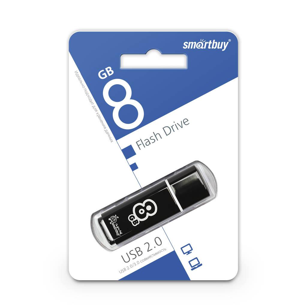 USB Флеш Накопитель UFD 2.0 Smartbuy 8GB Glossy Series Black