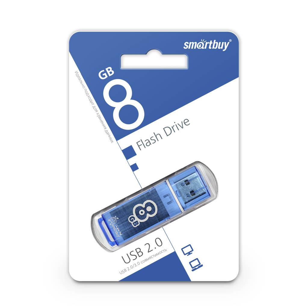 USB Флеш Накопитель UFD 2.0 Smartbuy 8GB Glossy Series Blue